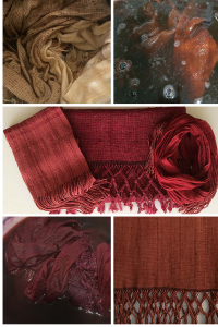 Madder Red & Cochineal dye Silk Scarves
